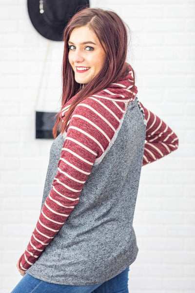 What Could Happen Stripe Long Sleeve Mock Neck Sweater in Burgundy Grey - Filly Flair