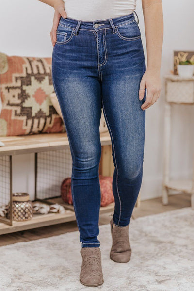 Celina Cello High Rise Ankle Skinny Double Mini Rolled Cuff Jeans - Filly Flair