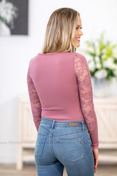 When I Look At You Long Sleeve Lace Bodysuit In Mauve - Filly Flair