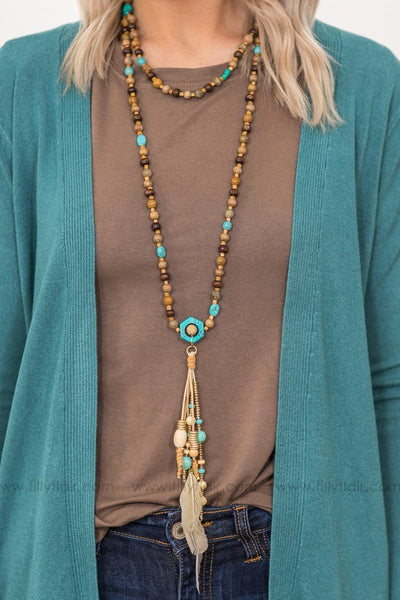 Fly Away Dreams Turquoise Beaded Layered Feather Necklace - Filly Flair