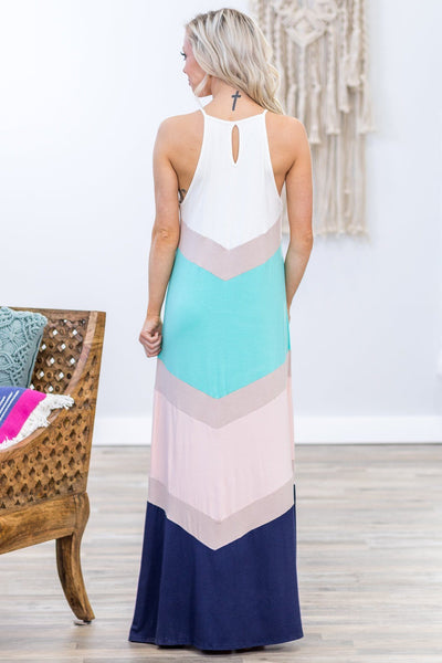 Always On My Mind Chevron Color Block Maxi Dress in White Mint Pink Navy - Filly Flair