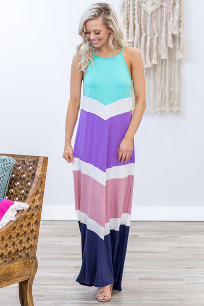 Always On My Mind Chevron Color Block Maxi Dress in Mint Purple Mauve Navy - Filly Flair
