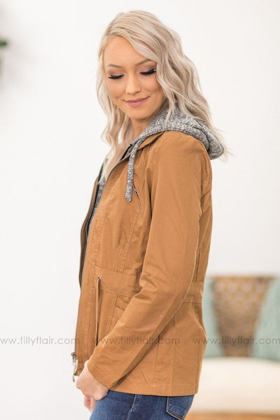 Take Back Home Layered Zip Up Hooded Jacket in Camel - Filly Flair