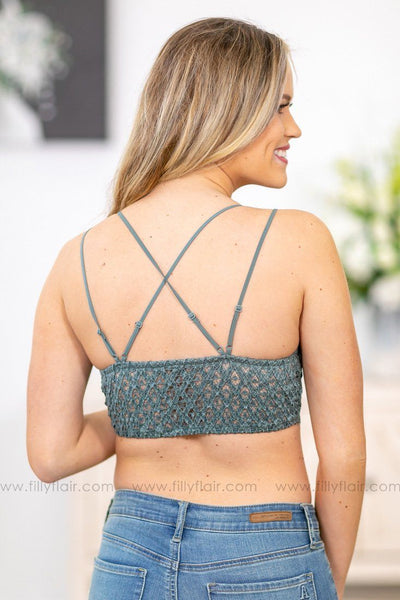 Mine All Mine Lace Bralette In Sage - Filly Flair