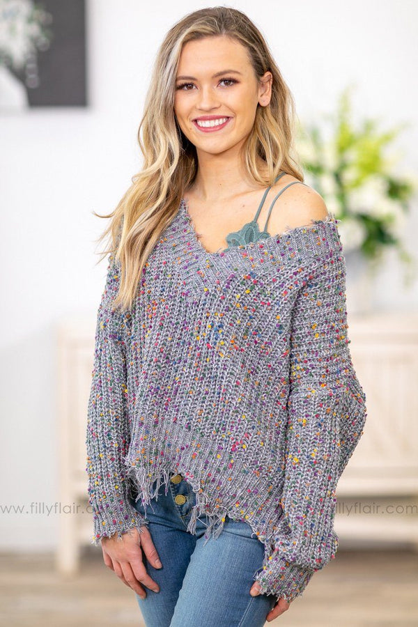 Unlike Anything Tattered Confetti Crop Sweater in Grey - Filly Flair