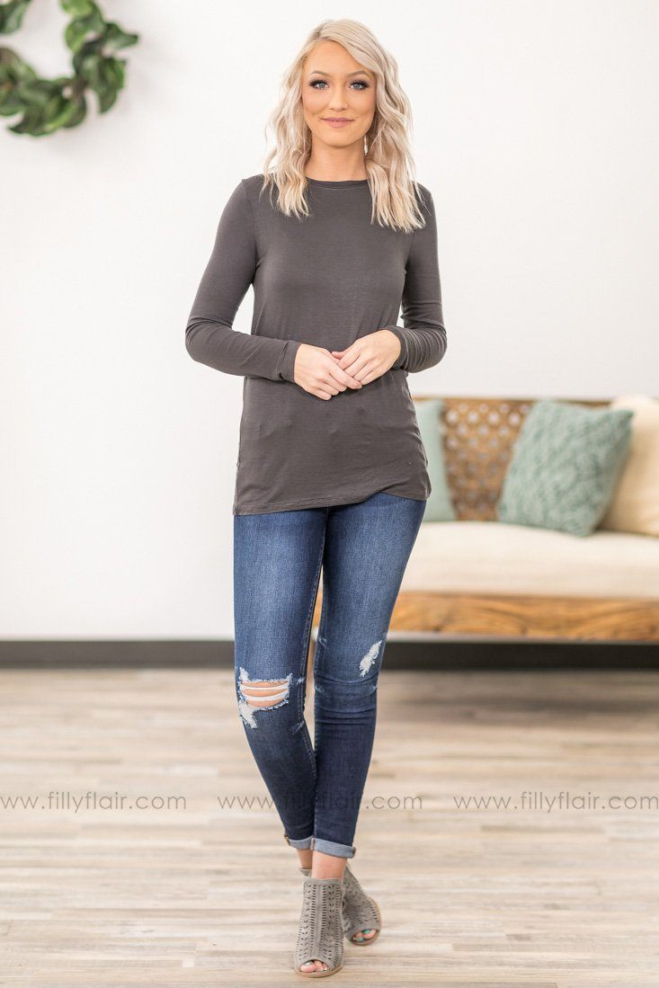 Plain As Day Long Sleeve Basic Top in Charcoal - Filly Flair