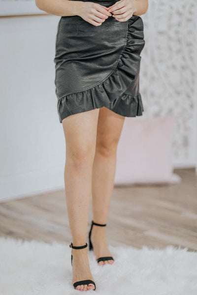 Women With No Fear Ruffle Leather Skirt in Black - Filly Flair