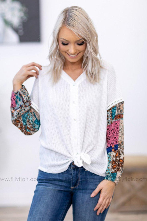 This Moment Printed Long Bishop Sleeve Button Tie Waffle Top in White - Filly Flair
