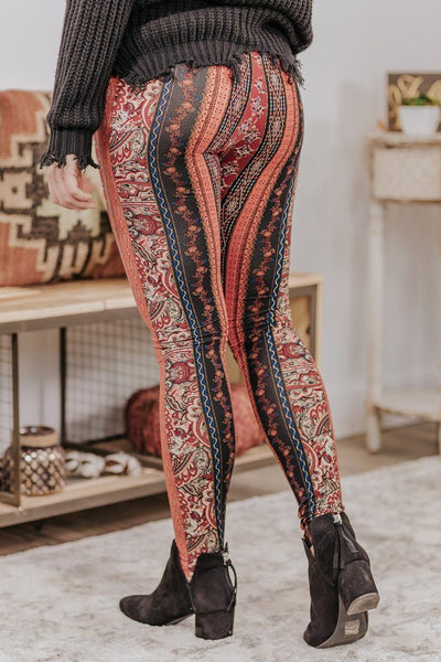 Only Human Printed Mid Rise Leggings in Rust - Filly Flair