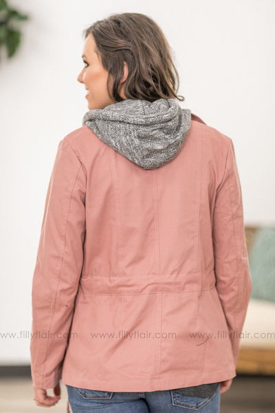 Take Back Home Layered Zip Up Hooded Jacket in Mauve - Filly Flair