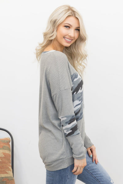 Better With You Camo Print Long Sleeve Top in Grey - Filly Flair