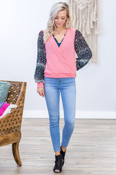 Find Me Floral Bishop Sleeve Overlapped Front Waffle Top in Pink - Filly Flair