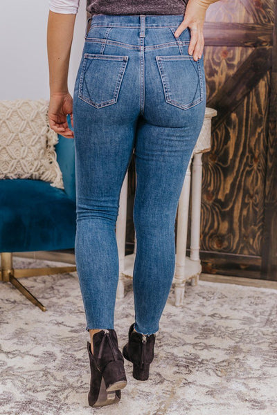 Audrey Kendall + Kylie High Rise Raw Hem Medium Wash Jeans - Filly Flair