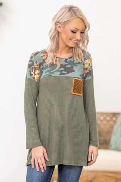 #ST# In The Middle Long Sleeve Blue Camo and Floral Waffle Top in Olive - Filly Flair