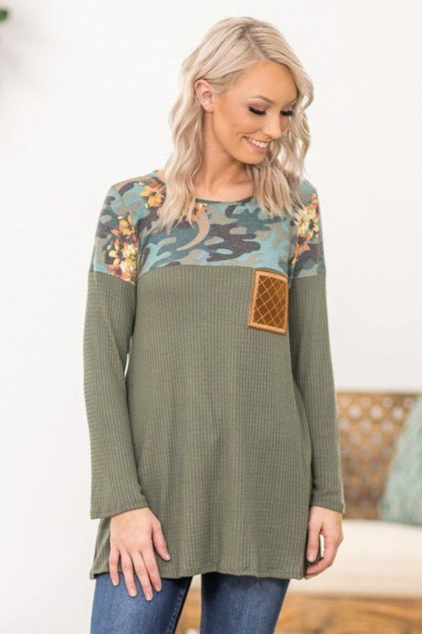 In The Middle Long Sleeve Blue Camo and Floral Waffle Top in Olive - Filly Flair