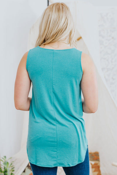 Love Who You Are Sleeveless High Low Tank Top in Dusty Teal - Filly Flair