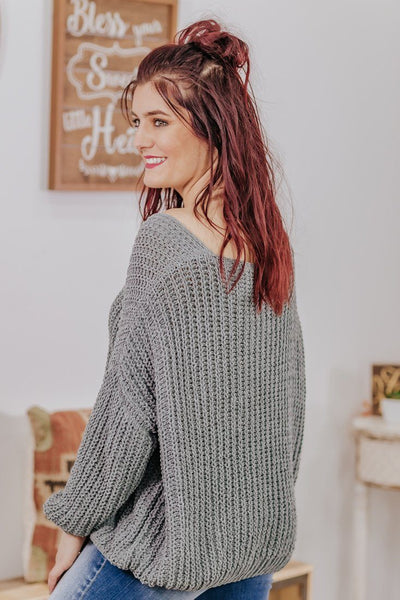 Come On Over Oversized Knit Sweater in Charcoal - Filly Flair