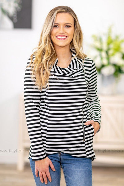 All Time Favorite Long Sleeve Striped Zip Up Jacket In Black White - Filly Flair