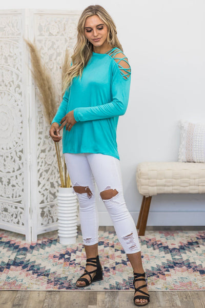 Cute Way Of Talking Criss Cross Cold Shoulder Long Sleeve Top In Teal - Filly Flair