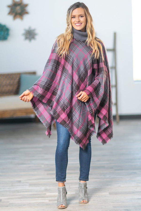 She Loves Me Turtle Neck Plaid Poncho in Grey Pink - Filly Flair