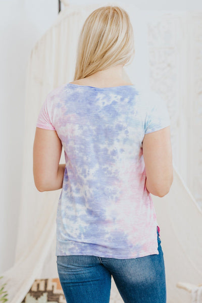Easterly Dreams High-Low Tie Die Top in Bubble Berry - Filly Flair