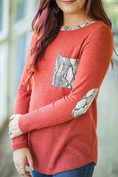 Present In Life Waffle Snakeskin Long Sleeve Pocket Elbow Patches in Rust. - Filly Flair