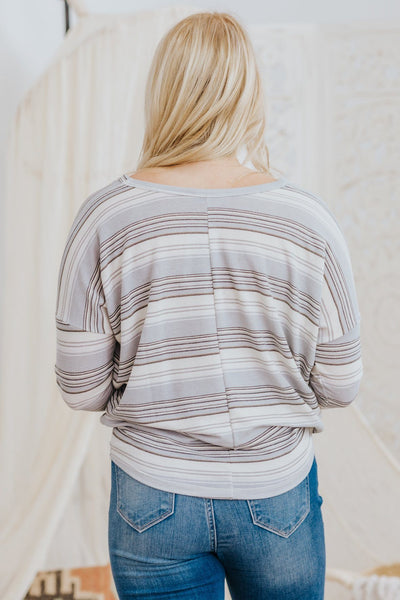 I Know You're Trying Striped Knit Top V-Neck Long Sleeve Top in Grey - Filly Flair