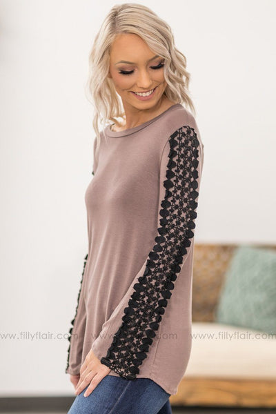 Be The Difference Black Crochet Lace Long Sleeve Top In Mocha