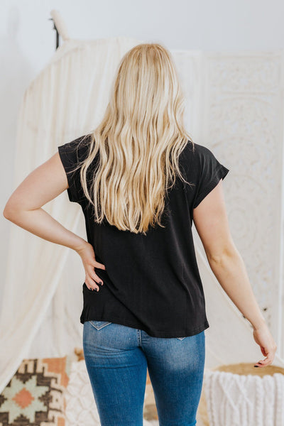 See The Value Placket Detail V Mock Neck Short Sleeve Blouse in Black - Filly Flair