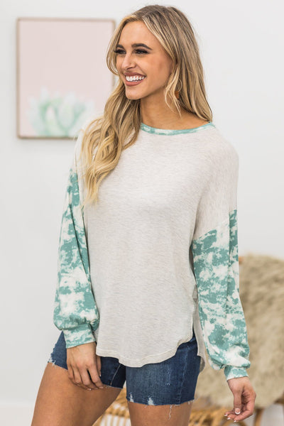 Be A Superhero Bleached Long Sleeve Top In Jade - Filly Flair