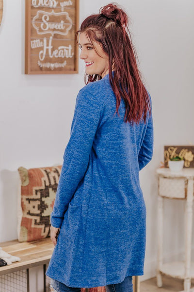 Just The Best Of Me Long Sleeve Long Cardigan In Blue - Filly Flair