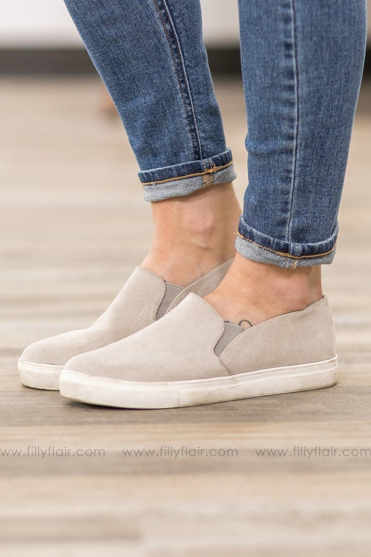 A Step Ahead Suede Casual Shoe in Light Grey - Filly Flair