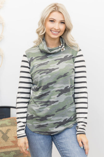 Play Me A Song Long Sleeve Top With Cowl Neck In Stripes And Green Camouflage - Filly Flair