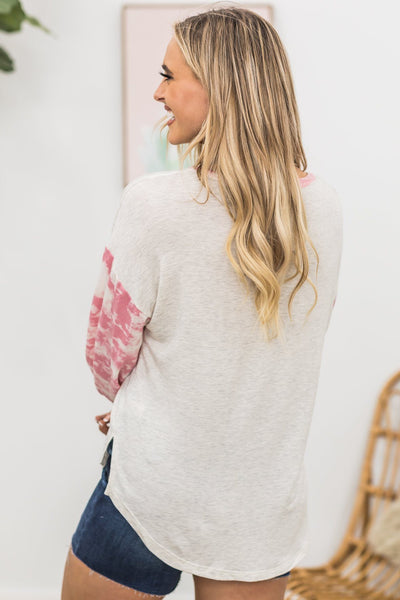 Be A Superhero Bleached Long Sleeve Top In Pink - Filly Flair