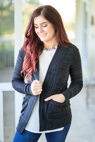 Still Be Loving You Open Front Cardigan Pockets Ribbed Trim in Black - Filly Flair