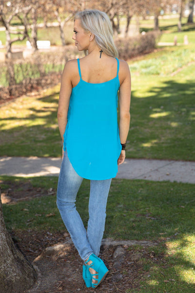 Brand New Day Fringe Tank Top in Cyan - Filly Flair