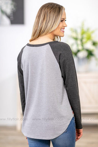 We Weren't Born to Follow Charcoal Long Sleeve Aztec Top in Grey - Filly Flair
