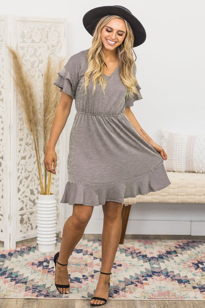 Sharing Secrets Striped Dress in Black and Ivory - Filly Flair