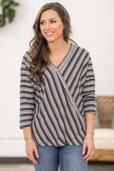 She Can't See 3/4 Sleeve Striped Button Detail Ribbed Top in Grey - Filly Flair