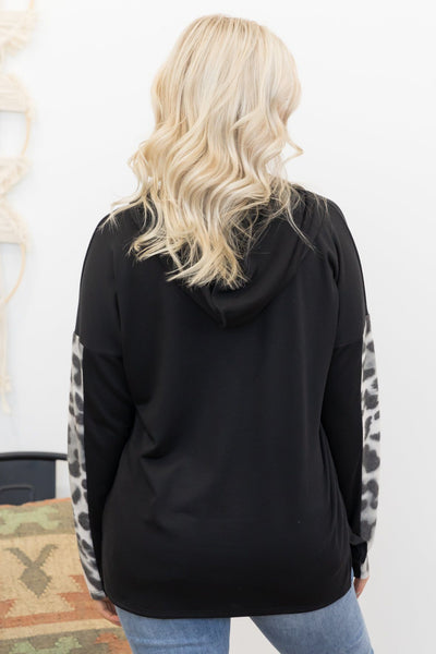 Keeping You Warm Animal Print Hooded Top in Black - Filly Flair