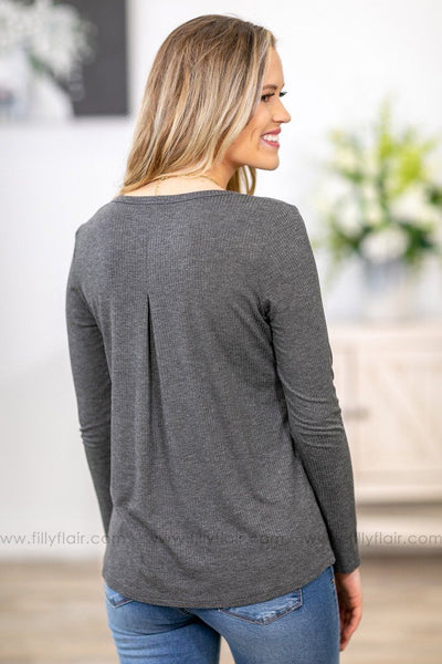 Knew You Were Trouble Ribbed Pleated Front Top In Charcoal - Filly Flair