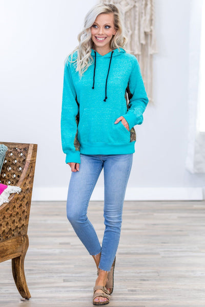 Out Of The Woods Long Sleeve Camo Accent Hoodie in Turquoise - Filly Flair