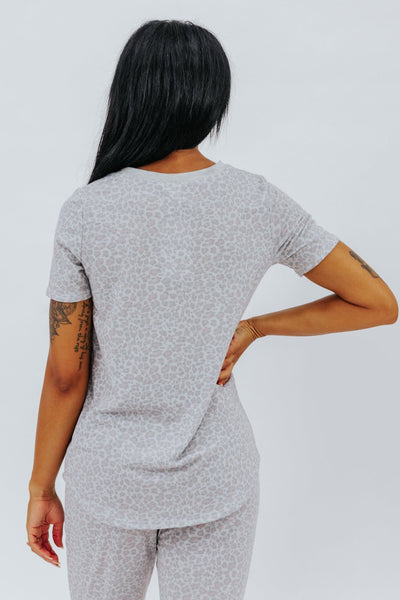 Let's Snuggle Animal Print Short Sleeve Top in Grey - Filly Flair