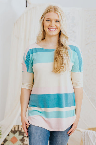Feeling Alright 3/4 Sleeve Striped Top in Pink/Blue - Filly Flair