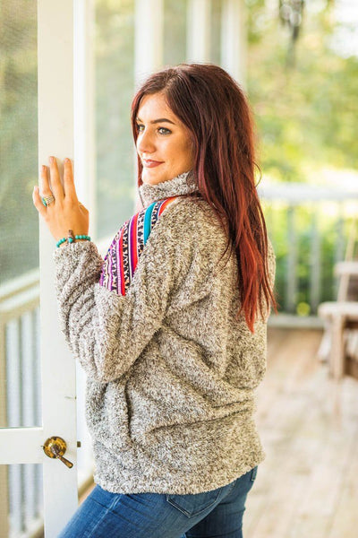 Life Is A Beautiful Ride Leopard Aztec Long Sleeve Sherpa Pockets in Taupe - Filly Flair