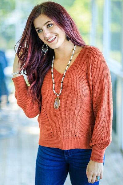 Fall Weekend Long Sleeve Sweater In Rust - Filly Flair