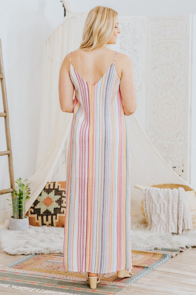 Lake Home Spaghetti Strap Striped Maxi Dress In Pink - Filly Flair