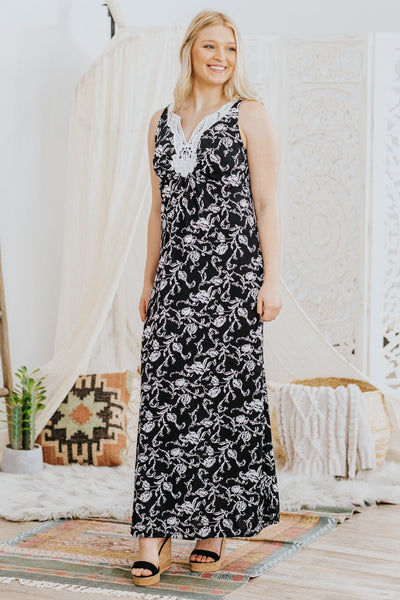 Be The Testament Floral Embroidered Neckline Sleeveless Maxi Dress in Black - Filly Flair