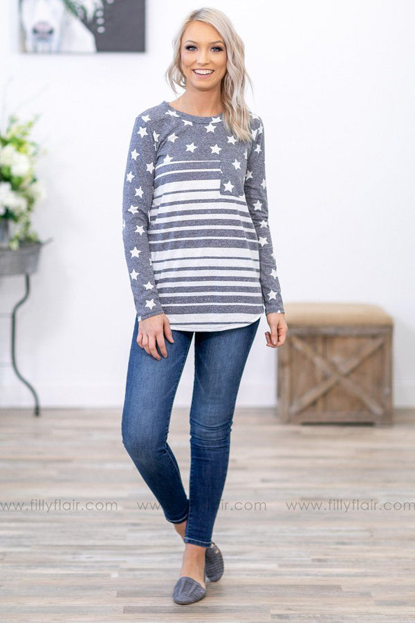 Stars That Shine Long Sleeve Stars and Stripes Top in Charcoal Blue - Filly Flair