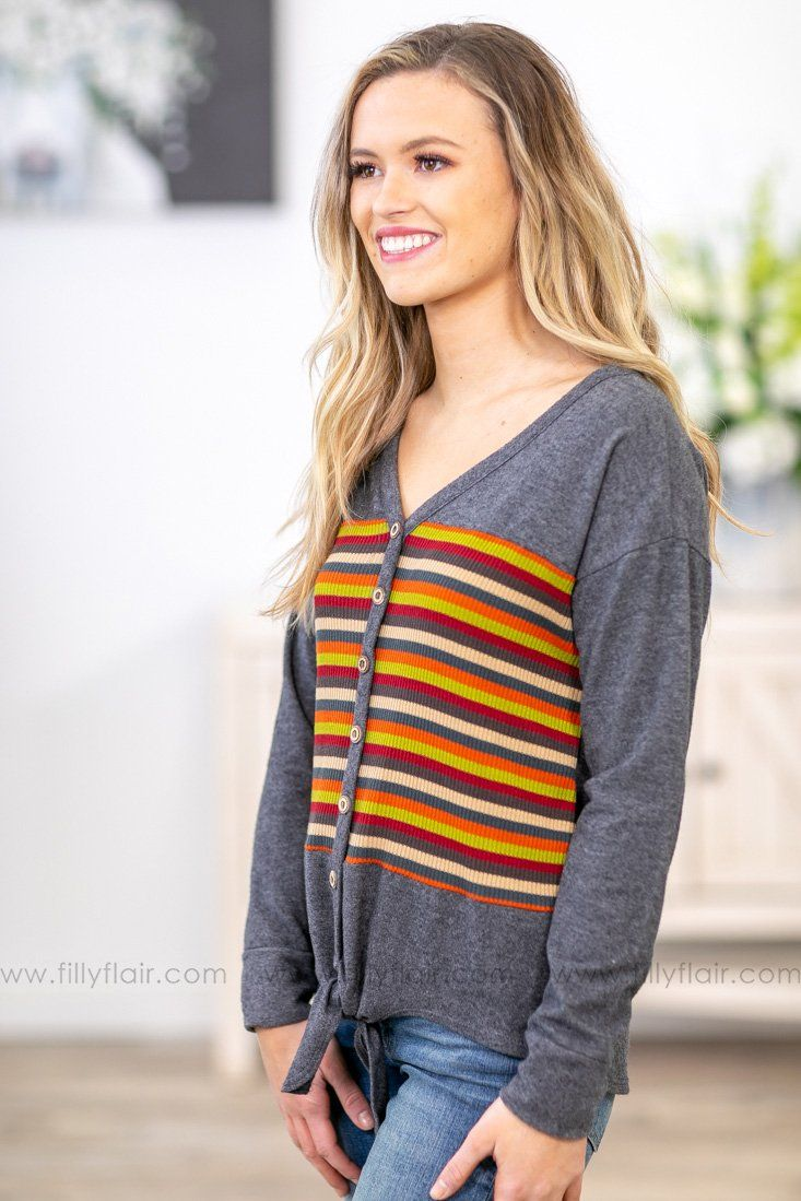 Down Time Long Sleeve Striped Tie Top In Charcoal - Filly Flair